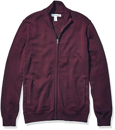 Amazon Essentials Men's Full-Zip Cotton Sweater, Burgundy, Large