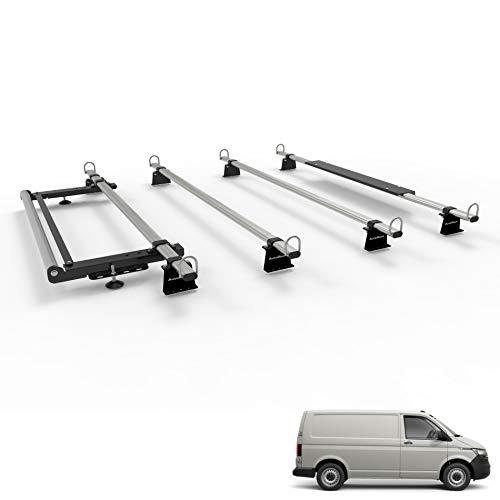 Transporter T5 – T6 – T6.1 Barras portaequipajes para furgoneta – Autorack WorkReady – 4 barras con kit de rodillos