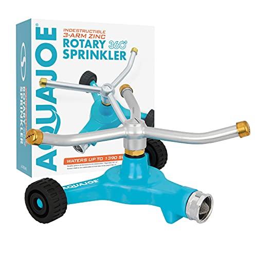 Aqua Joe AJ-TRSWB Indestructible Series Metal 3-Arm Rotating Sprinkler, w Wheeled 8-Inch Base