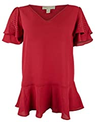 98% Polyester, 2% Elastane V neckline. Fluid silhouette Short, double ruffled sleeves, featuring metallic micro dots Peplum hem. Pullover Machine washable; Imported