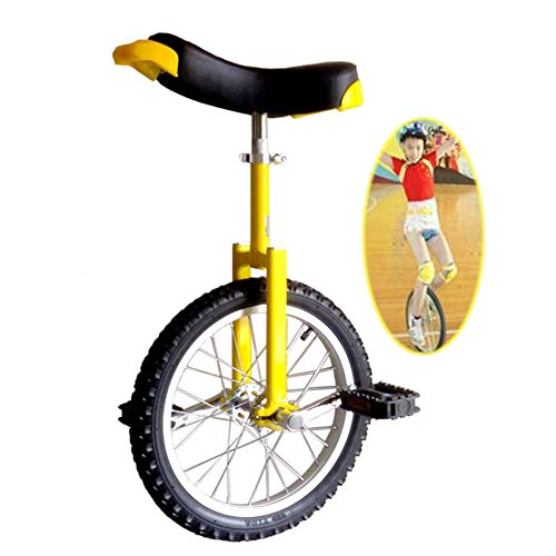 "16"" / 18"" / 20"" / 24"" Kid's/Adult's Trainer Unicycle, Height Adjustable Balance Cycling Exercise Bike Bicycle, Best Birthday Gift (Color : Yellow, Size : 18"")"
