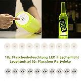 Vanorell 10 x Flaschenbeleuchtung Flaschenunterbeleuchtung Shisha Beleuchtung Untersetzer LED Flaschenlicht Leuchtmittel für Flaschen Partydeko