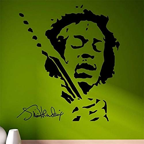 Muurstickers Jimmy Hendrix Muziek Pop Star Vinyl Muursticker Decal Deur Venster Stencils Muurschildering [Grootte: 59x61cm]