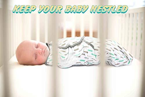 Baby Swaddle Blanket Wrap, 0-3-Month, Small-Medium, Newborn Babies Swaddling Sack, Infant Adjustable Swaddles, Aqua/Grey