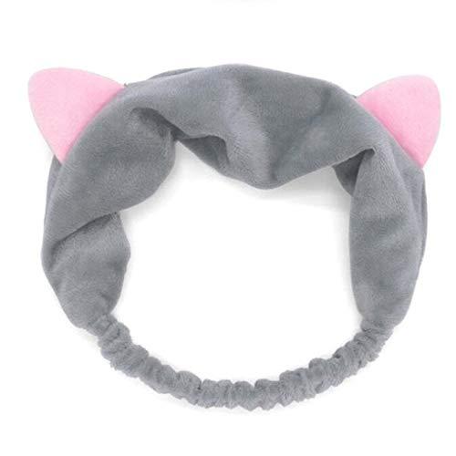 8 PcsBig Rabbit Ear Coral Fleece Head Band Soft Elastic Hair Ribbon SPA Bath Shower Make Up Wash Face Headband Hair Band Headwear ear grey
