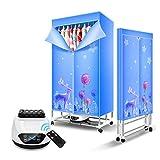 GJQDDP Elektrischer Wäschetrockner, 1500 W-Fernbedienungs-Trockenschrank, schnell trocknende Kleidung und intelligentes Timing-Design, 15 kg tragbarer Trockner mit großer Kapazität,Blau