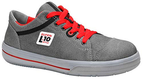 ELTEN Sicherheitsschuhe VINTAGE Low ESD S3, Herren, sportlich, Sneaker, leicht, grau/rot, Stahlkappe - Größe 44