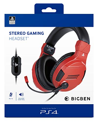 BigBen Interactive Cuffia Gaming con Licenza Ufficiale PS4 Rossa - PlayStation 4