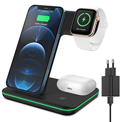 XIMU Kabelloses Ladegerät, 3 in 1 Wireless Charger Schnell Ladestation mit Adapter Kompatibel mit iPhone 12/11 Pro Max/XS/XR/X/8/8 Plus/Apple Watch 6/SE/5/AirPods Pro/Samsung Galaxy S21/S21+/S10/S9