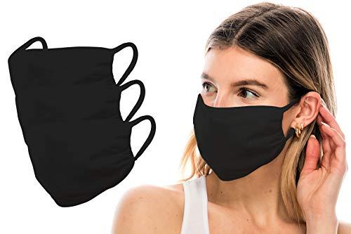 Kurve 3 Packs Fashion Protective Face Masks, Unisex Nylon Spandex Mouth Masks, Washable, Breathable, Reusable Masks, Made in U.S.A. (One Size, 3 Pack-Black)