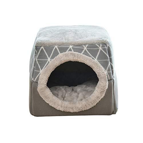 Asdomo Cama calmante para mascotas, perro, gato, cerrada, plegable, redonda, cálida, suave, de felpa, cómoda para dormir, invierno, Gary/negro