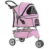 New Pink Pet Stroller Cat Dog Cage 3 Wheels Stroller Travel Folding Carrier