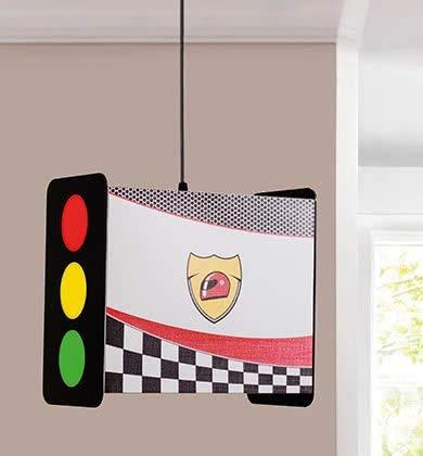 Lámpara de techo para dormitorio, estilo semáforo de carreras, forma rectangular