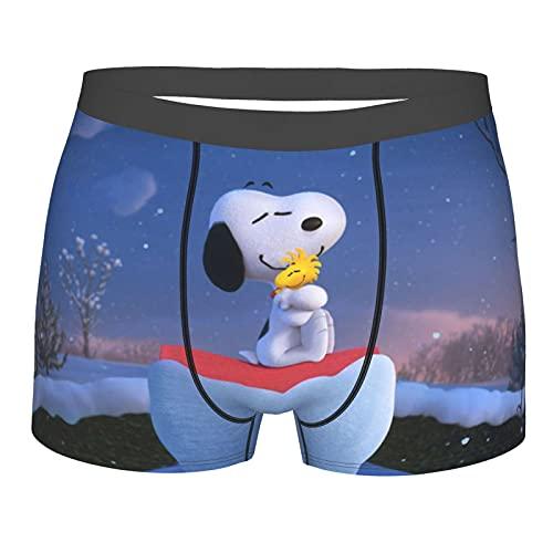 Herren-Boxershorts mit Cartoon-Motiv, Snoopy-Anime-Motiv, weiche Passform, kühl, bequem, dehnbar, niedrige Taille, mehrere Gr. L, Schwarz