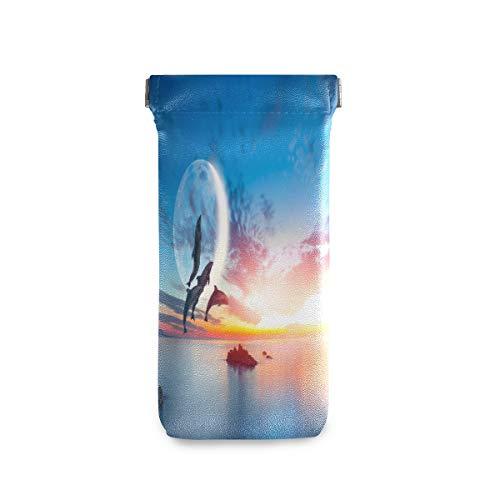 ALARGE Sunglass Pouch Ocean Dolphin Jump Monn - Funda portátil para gafas de sol con tapa de piel sintética suave para niños, hombres y mujeres