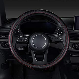 CHEMU-Auto Universal Steering Wheel Cover Leather 38cm for All Seasons 99% Car Model (Black + Red)