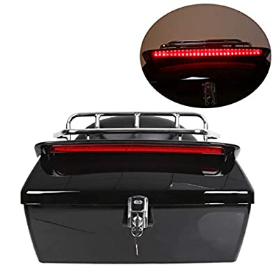Black Motorcycle Trunk Tail Box Luggage Universal w/ Top Rack&Backrest&TailLight by EGO