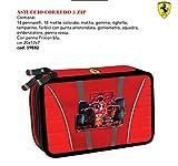 Astuccio scuola Ferrari 3 zip-scomparti originale, completo di cancelleria, penne, pennarelli, matite, gomme, ecc.