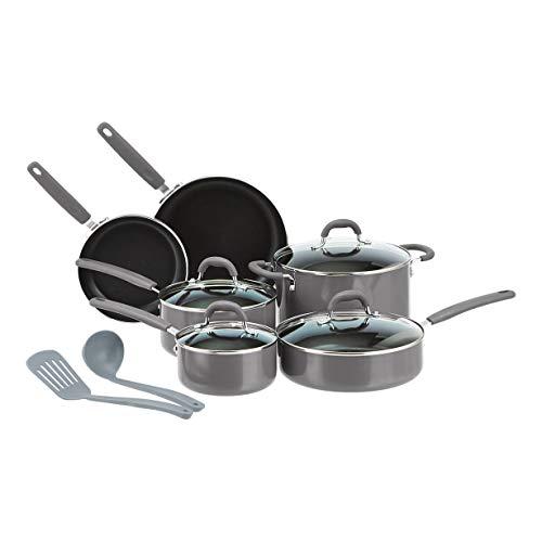 Amazon Basics - Juego de 12 utensilios de cocina antiadherentes de cerámica (ollas, sartenes y otros utensilios), gris