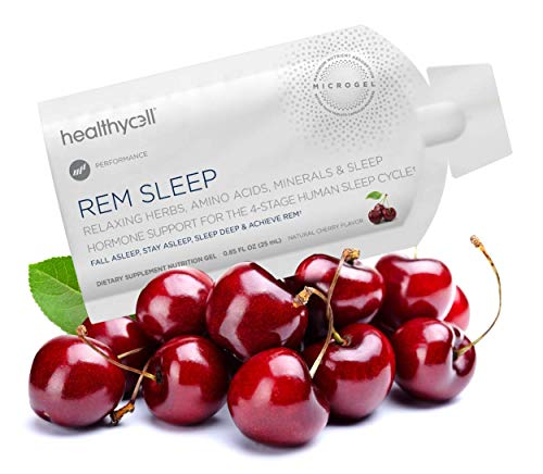 Healthycell REM Sleep | Adult Sleep Aid | Extra Strength Sleep Supplement to Fall Asleep, Stay Asleep, Sleep Deep, Achieve REM, Wake Refreshed | Melatonin, Lemon Balm, GABA | MICROGEL™ (30-Serving)