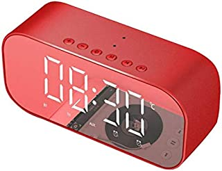 Red Clock Bluetooth Speaker With Display Temperature Display And Alarm Clock. Portable Audio And Video Equipment
