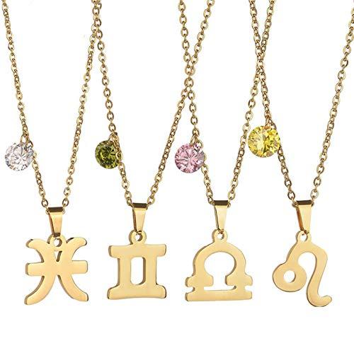 Beydodo Damen Halskette mit Anhänger Waage Rosa Geburtsstein Gold Kette für Freunde Memorial Kette