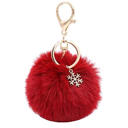 Pom Pom Keychain Artificial Fur Ball Keychain Fluffy Accessories Car Bag Charm (Claret)