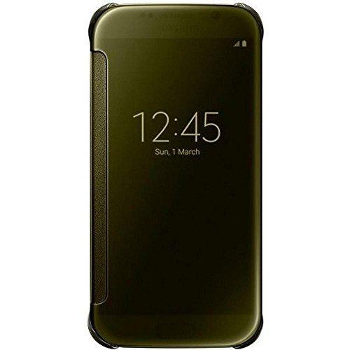 Samsung Handyhülle Schutzhülle Protective Case Cover mit Clear View Klarsicht Cover für Galaxy S6, gold