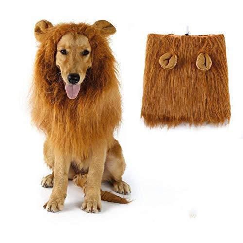 ZZQ Hund Lion Mähne, Lion Mähne Perücke Kostüme für mittelgroße bis große Hunde mit Ohren, ausgefallene Löwenhaare für Halloween-Kostüme