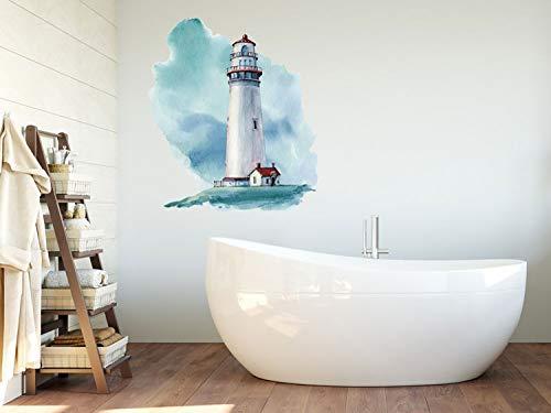 GRAZDesign Wandtattoo Leuchtturm Blau/Rot selbstklebend, Badezimmer Aufkleber, Wandsticker Nordsee / 57x50cm