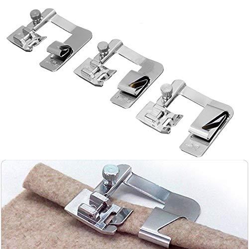 3 Stks Huishoudelijke naaimachine Presser Voet Rolled Zoomvoeten Set 4/8'' 6/8'' 8/8''
