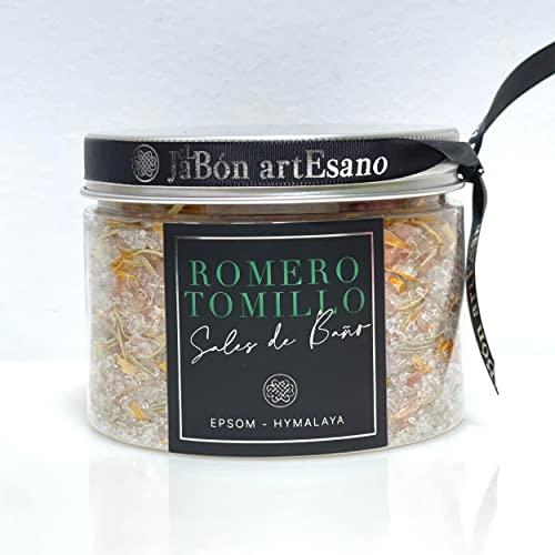 Sales de baño de Epsom/Himalaya 350g- Artesanal, Floral, desintoxicante con aceite esencial de Tomillo y Romero /cuidado del cuerpo para desestresarse y relajarse