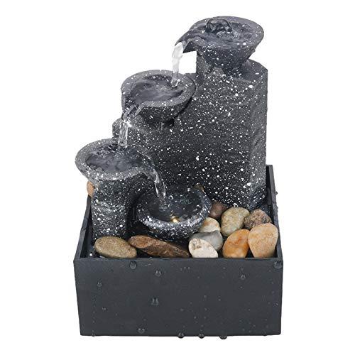 卓上噴水滝、スタイリッシュな屋内USB小型デスクトップ噴水、不規則な石と装飾的なLEDライト、屋内ホームオフィスのテーブル装飾用
