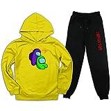 Purple Love Lime Among Us - Sudadera con capucha para niños + pantalones de chándal de terciopelo fino Trajes casuales para niños/niñas