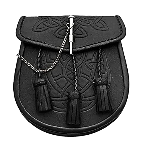 Scottish Kilt Sporran with Tassles - Black Leather Celtic Kilt Pouch With Chain Belt - Classy Kilt Accessories - Elegant Leather Fanny Pack Waist Bag (Selkie)