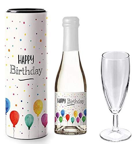Piccolo Sekt Geschenk 0,2   Geschenke mit Alkohol & Geschenkverpackung   Sekt mit Geschenk Box, Glas & Spruch   Geschenkideen Ostern Valentinstag Geburtstag   Happy Birthday