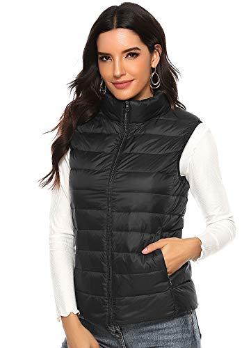 INSTINNCT Damen Weste mit Stehkragen Gefüttert Ultraleicht Daunenjacken Winter Warm Verstaubar Schwarz XL