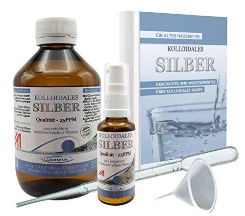 Liquid for Life® Plata coloidal 25ppm, 250ml de agua de plata, en ENVASE PROTEGIDO CONTRA LA RADIACIÓN, que incluye una bote pulverizador de 30 ml y accesorios