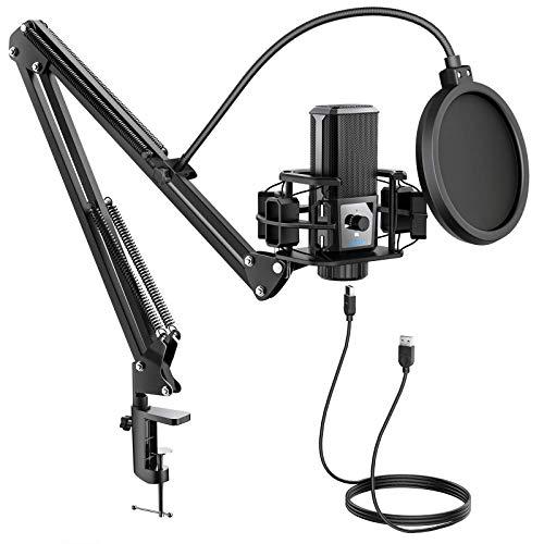 USB Mikrofon Kit, JEEMAK Professionelles Computer Mikrofon mit Nierencharakteristik und 192KHZ/24Bit Studio Mikrofon Sound Chipsatz Scherenarm, Aufnahme Mikrofon für PC Gaming Streaming Podcasting