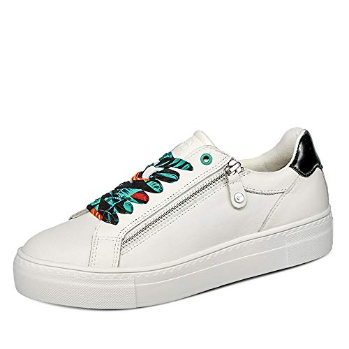Tamaris Damen 23312-26 Sneaker Low Uni Plateau rund Glattleder Ziernähte Schuhe, Groesse 41, weiß