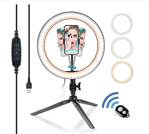 Ring Fülllicht Handy Live-Anker-Shooting Foto Tripod Desktopbroadcast 10-Zoll-Fill Light Ring Led Ring Fill Light + Stativ mit Bluetooth DDLS (Color : -)