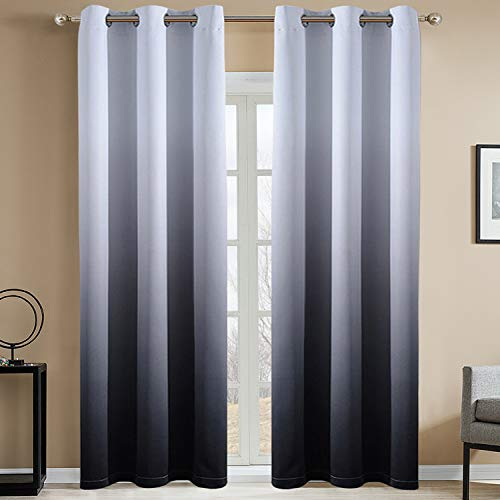 Yakamok Room Darkening White and Black Gradient Blackout Curtains Thickening Polyester Ombre Thermal Insulated Grommet Window Drapes for Living Room/Bedroom (Black, 2 Panels, 42x84 Inch)