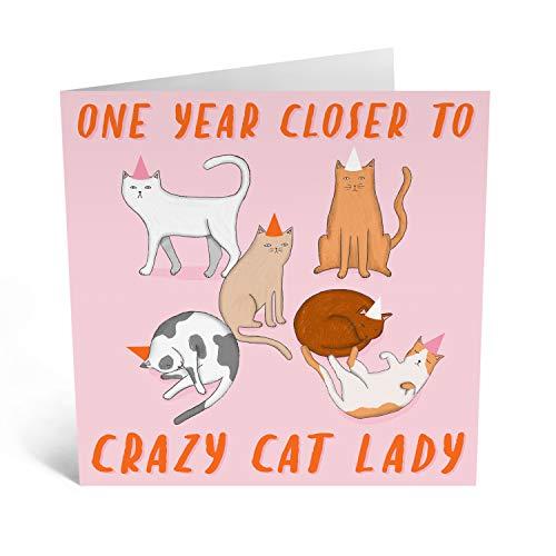"""Central 23 – Lustige Geburtstagskarte – """"Cat Lady"""" – für Frauen, Ihre Frau, Mutter, Schwester, mit lustigen Aufklebern"""
