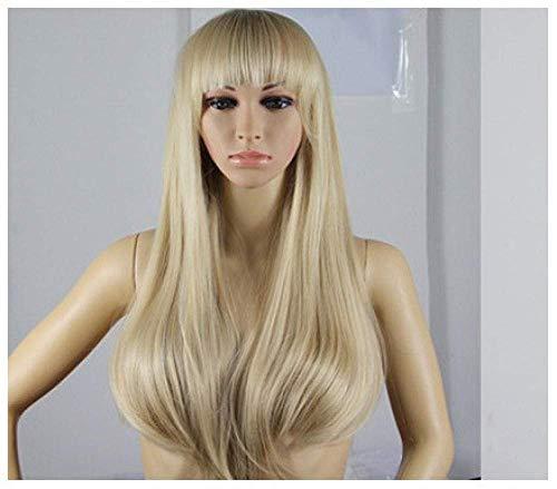 Perruque Sexy Lady Pleine Perruque avec Frange pour Femmes Souple Blonde Droite Naturel Synthétique Chaleur Cosplay Halloween Robe Partie Perruques