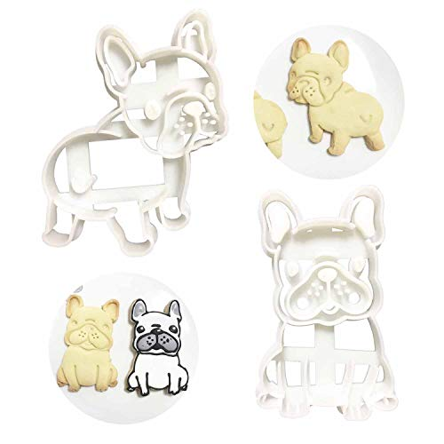 French Bulldog Cookie Cutters Shape Mold 2pcs Set, Dog Treats Cutter