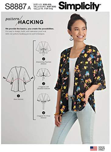 Simplicity Sewing Pattern S8887 Misses' Design Hacking Kimono, Size XXS-XXL