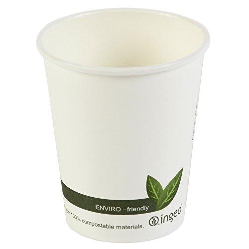 Kompostierbare Becher für heiße Getränke, 230 ml, biologisch abbaubar, Kaffeebecher zum Mitnehmen, 50Stück