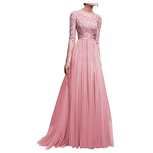 Zottom Frauen Spitze Chiffon Abendkleid Brautjungfer Kleid Lange Fünf-Punkt-Ärmel Kleid Abendkleid Spitze langes Kleid(a-Rosa,X-Large)
