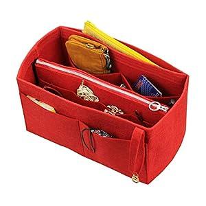 [Passt Graceful MM, Rot] Felt Organizer (mit abnehmbaren mittleren Zipper Bag), Tasche in Tasche, Wolle Geldbörse…