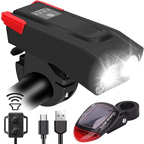 Guiseapue Waterproof Bike Lights with Horn, Upgrade 6 Light Modes Rechargeable Cycling Front Lights and Back Rear Bike Lights,Cycling Lights for Road & Mountain- Easy to Fit